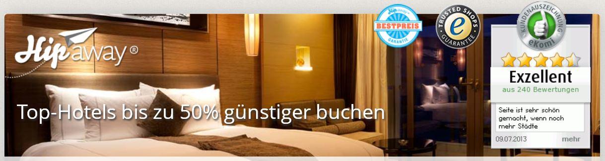 Hipaway Hotelbuchungen mit kostenlosen 17€ Gutschein ohne MBW!