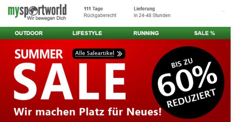 mysportworld   Summer SALE mit bis zu 60% Rabatt + 28% Gutschein! Update