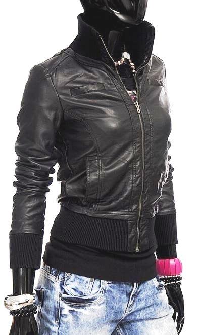 MISS 087   Damen Kunstleder Sweatjacke mit Zipper für 19,95€