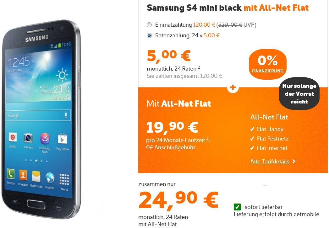 SAMSUNG Galaxy S4 Mini mit Simyo Allnet Flat für nur 24,90€ monatlich