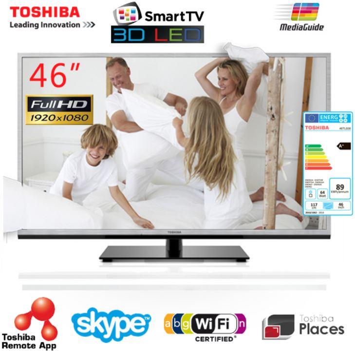Toshiba 46TL938G, 46Zoll 3D SmartTV für 488,90€