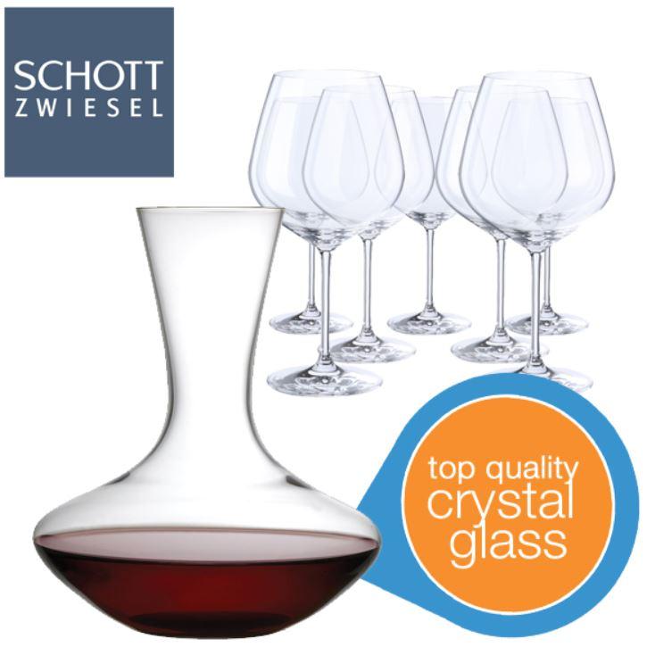 Schott Zwiesel 8 Rotwein Gläser und ein Dekanter für 30,90€   Knaller!