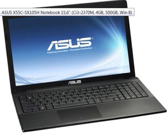 ASUS X55C SX105H, Notebook 15,6  (Ci3 2370M, 4GB, 500GB, Win 8) für 314€