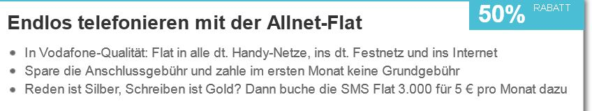Vodafone All Net Flat in alle deutschen Netze ab 7,91€ monatlich   Update!