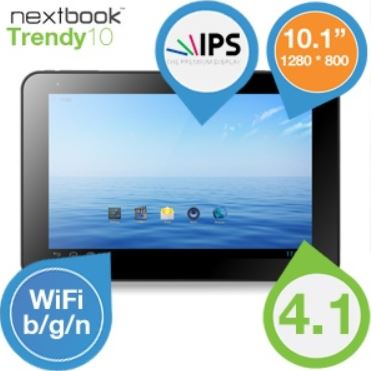Nextbook Trendy 10   ultra dünnes 10,1Zoll Android 4.1 Tablet für 155,90€