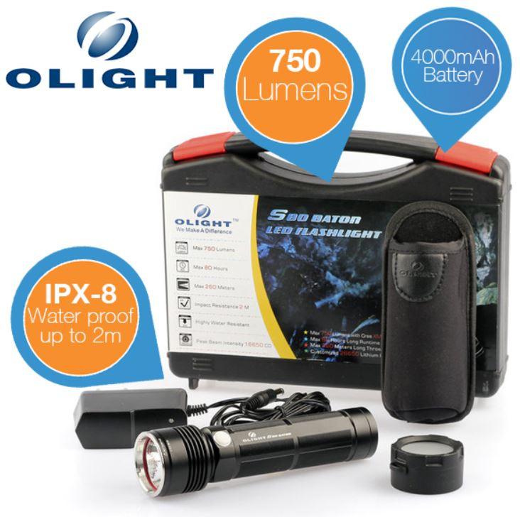 Olight S80 Baton   Taschenlampe mit 750 Lumen + 4000mAh Lithium Akku für 55,90€