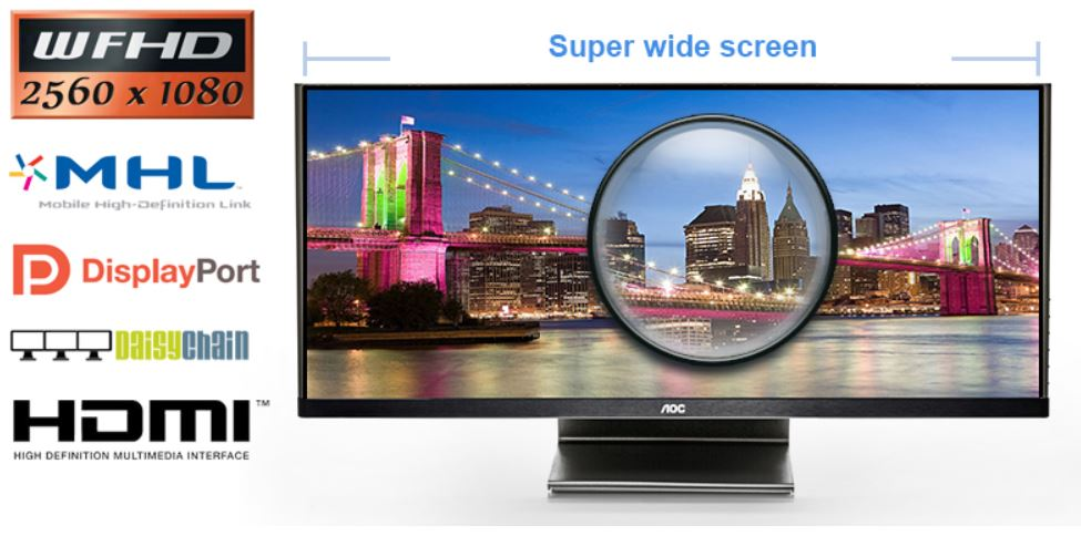 AOC Q2963PM   29 Zoll LED Cinema IPS Display mit 21:9 Bildformat für 378,90€