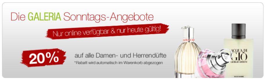 20% Rabatt auf Düfte und mehr Sonntagsangebote bei Galeria Kaufhof + 10% Gutscheincode!