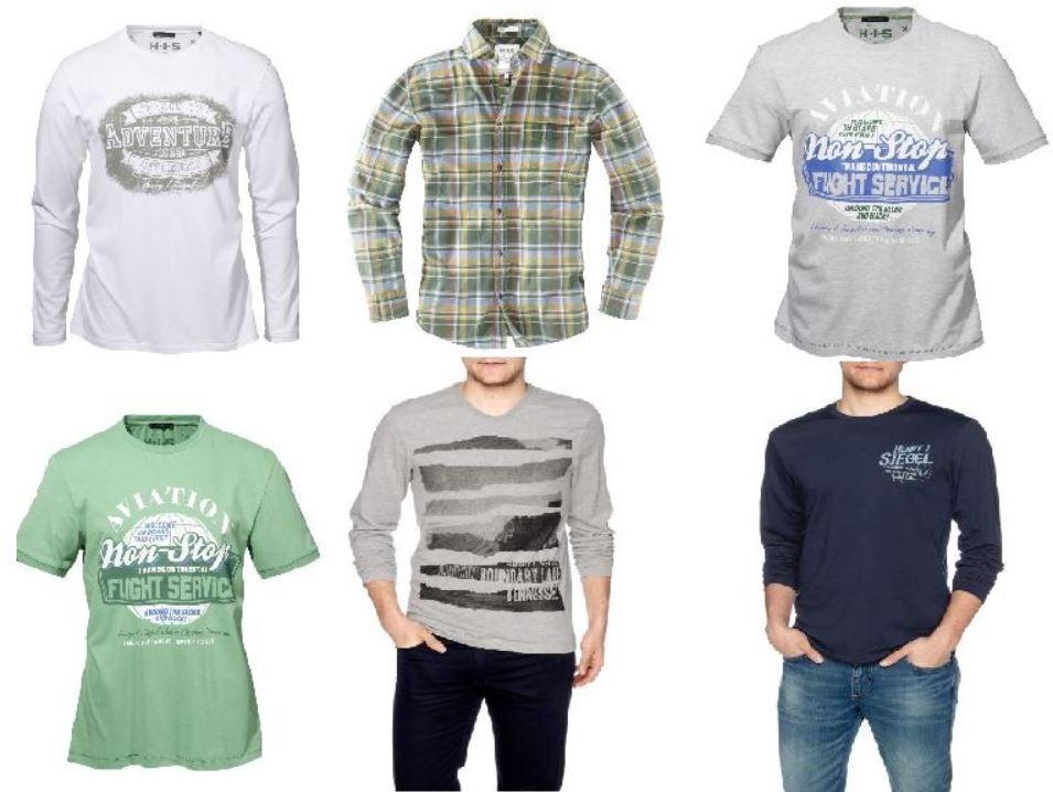 H.I.S. Herren T Shirts und Hemden verschiedene Modelle für je 12,95€