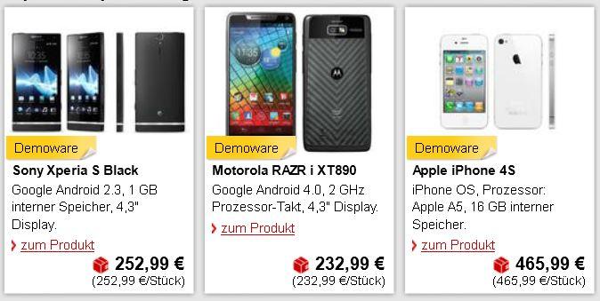 Motorola RAZR i, Apple iPhone 4S und mehr B Ware zu günstigen Preisen