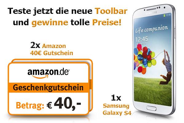 Gewinnspiel! Mein Deal.com Gutschein Toolbar testen und ein Samsung S4 + 2 x 40€ Amazon Gutschein gewinnen