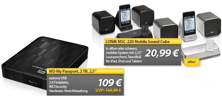 WD My Passport 2,5″ Festplatte mit 2 TB & I.ONIK MSC 220 Lautsprechersystem   OHA Deals