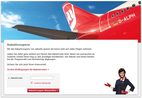 10€ Gutschein für Air Berlin   Rabattcodes für 2 Reisende