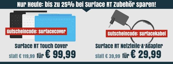 Microsoft Surface RT 32GB für 222€ + günstiges Zubehör
