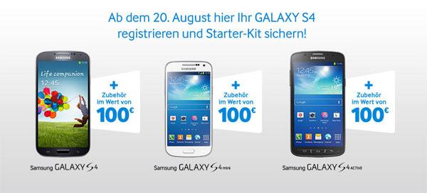 Kostenloses Starter Kit für Samsung Galaxy S4 im Wert von 44,22€