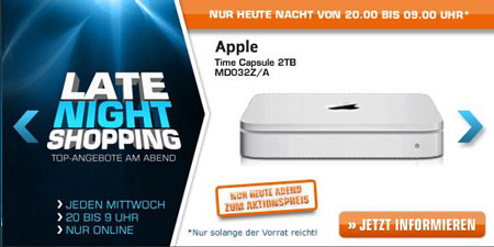 Apple Time Capsule 2TB für 179€ und mehr beim Saturn Late Night Shopping