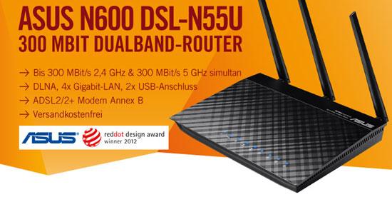 Update! Asus N600 DSL N55U 300Mbit WLAN Router für 79,90€