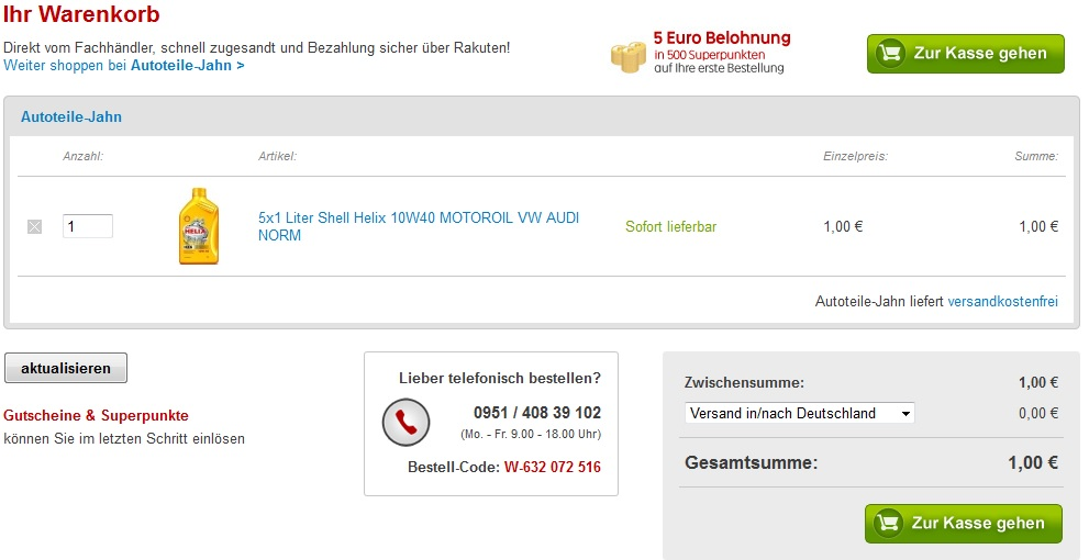 Preisfehler! 5x1 Liter Shell Helix 10W40 MOTOROIL VW AUDI NORM nur 1€