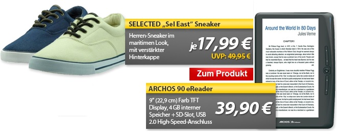 Archos 90 eReader mit 9″ Farb TFT Display & Selected Sneaker   OHA Deals