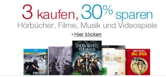 3 Hörbücher, Filme, Musik und Videospiele kaufen und 30% Rabatt bekommen   Update!