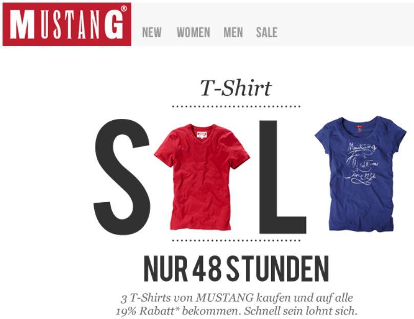 3 Mustang T Shirts mit 19% Rabatt + 15% Newslettergutschein!