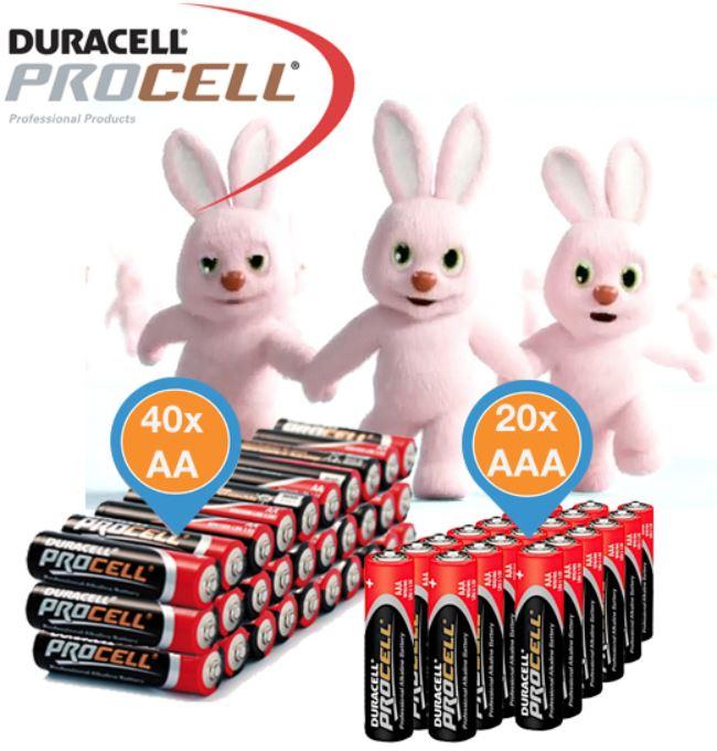Duracell Procell   60'er Pack Alkaline Batterien  (40 x AA und 20 x AAA) für 22,90€