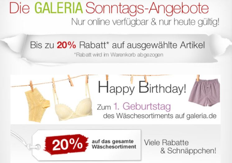 20% Rabatt auf ausgewählte Uhren, Schmuck & Wäsche und mehr Sonntagsangebote bei Galeria Kaufhof