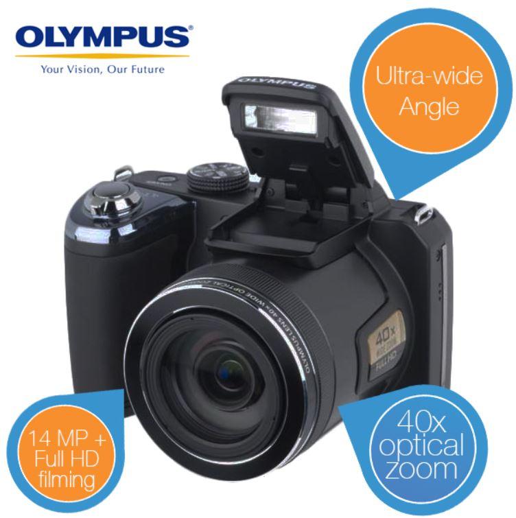 Olympus SP 820UZ   14MP Bridge Kamera mit extra Weitwinkel Objektiv für 175,90€