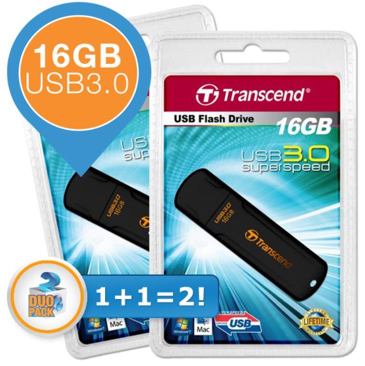 Transcend JetFlash 700   USB 3.0 Stick mit 16GB als Doppelpack für 22,90€