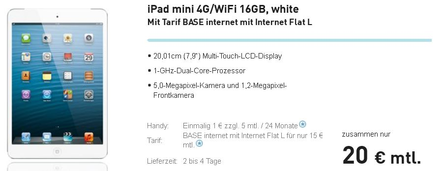 iPad mini, 16GB und 4G mit 1GB Datenvolumen für monatl. 20,04€