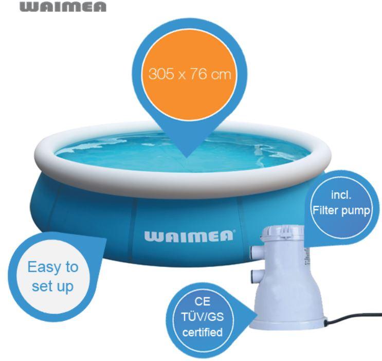 Waimea Quick Up Badepool mit Filterpumpe 1100L für 43,90