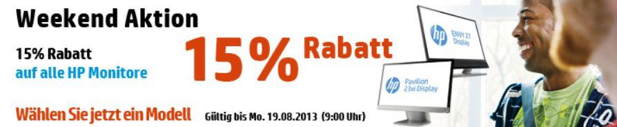 HP Weekend Aktion 15% Rabatt auf alle Monitore