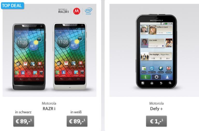 Motorola RAZR i für 89€ und andere gute Prämien dank kost nix Duo Verträge