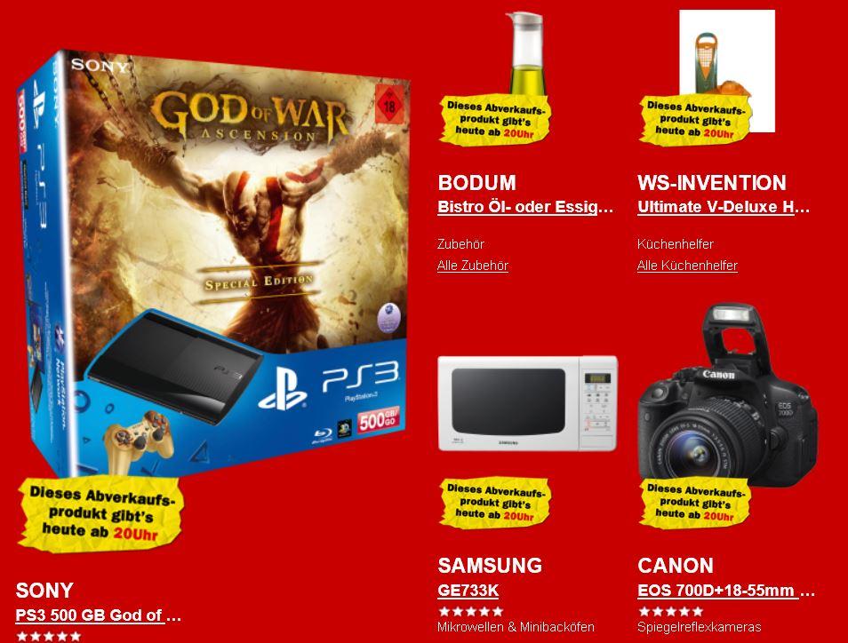 Sony PS3 mit 500GB inkl. God of War: Ascension für 199€ und mehr beim Media Markt Rausverkauf!