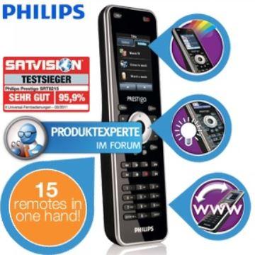 Philips Prestigo SRT8215/10   15in1 Universalfernbedienung mit LCD Touchscreen für 45,90€