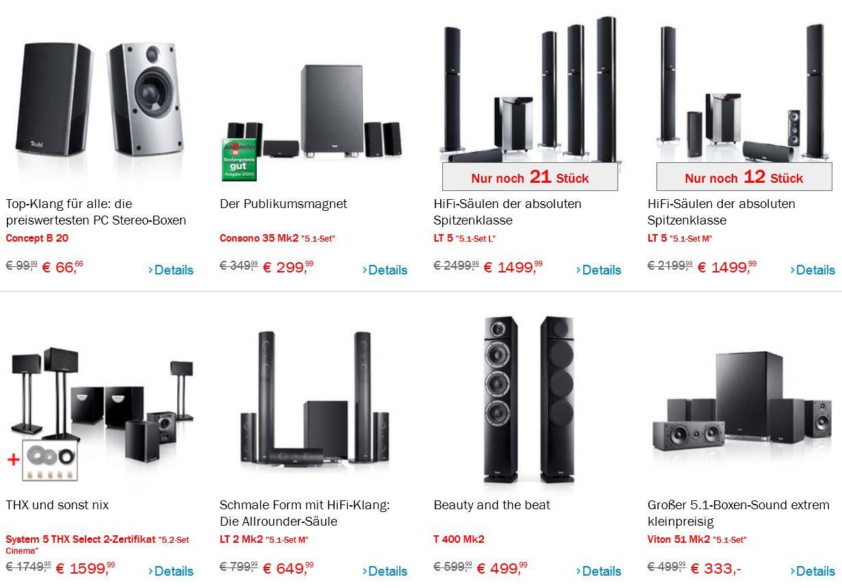 Teufel SSV Sale mit Restposten, Auslaufmodellen und B Ware zum Sonderpreis