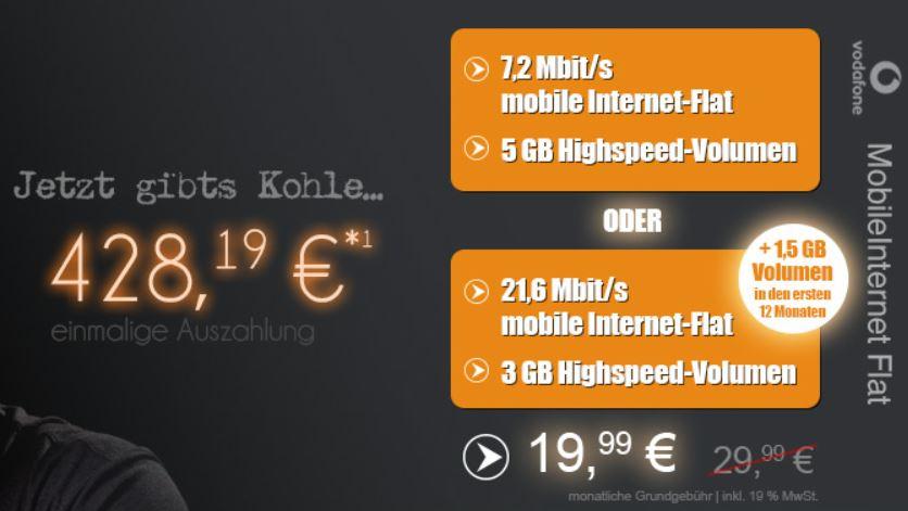 Vodafone Daten Flat mit 5 GB für 3,39€   Update!