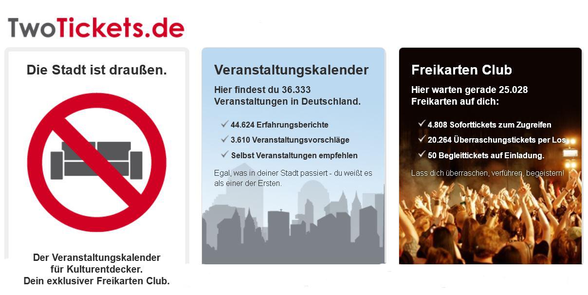 Update! TwoTickets.de – Überraschungspaket mit Veranstaltungstickets dank Gutschein ab 4,99€