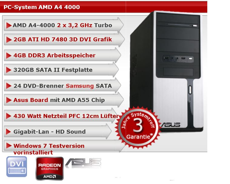 PC Office Multimedia System mit AMD A4 4000 Dual Core für 199€