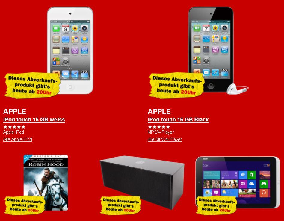 Apple iPod touch 16 GB  für 111€ und mehr beim Media Markt Rausverkauf!