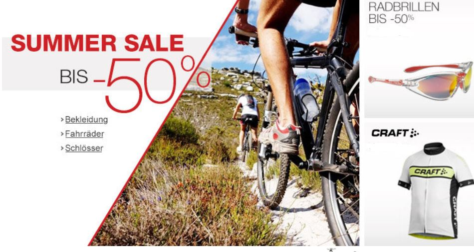 Radsport Summer Sale mit bis zu 50% Rabatt!