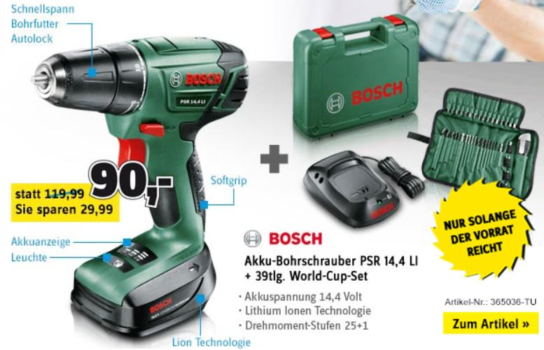 Bosch PSR 14,4 LI Akku Bohrschrauber für 85€ und anderes Werkzeug 25% reduziert bei Conrad