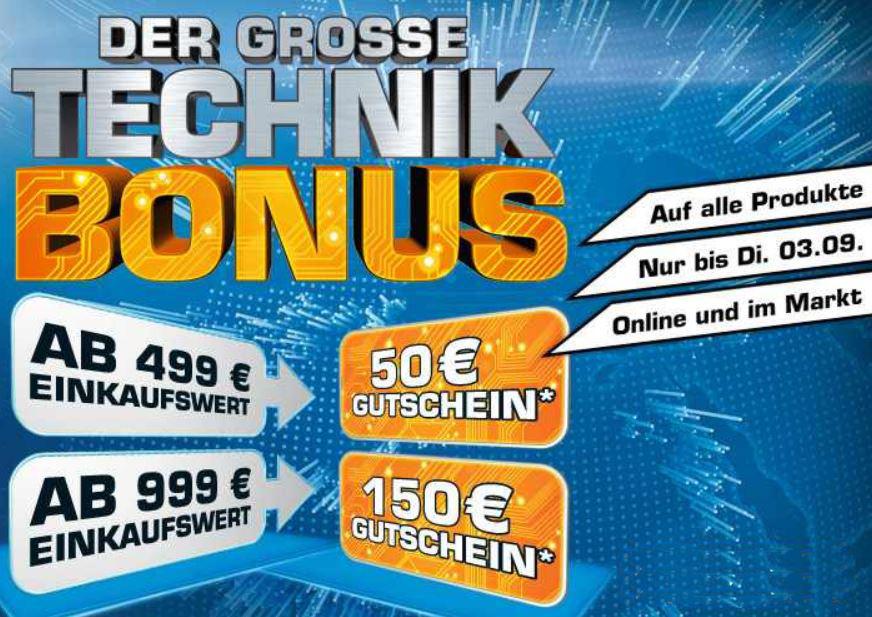 Update! Saturn Technik Bonus Reloaded mit 50€ Cashback ab 499€ und mehr