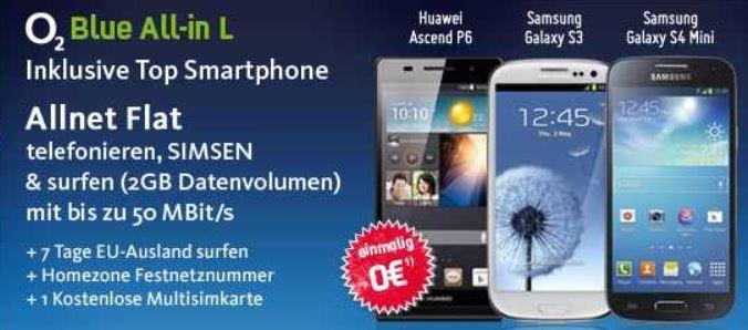 Samsung Galaxy S4 Mini u.a. Handys mit Allnet O² Flat (2GB) für 30,99€ monatl.