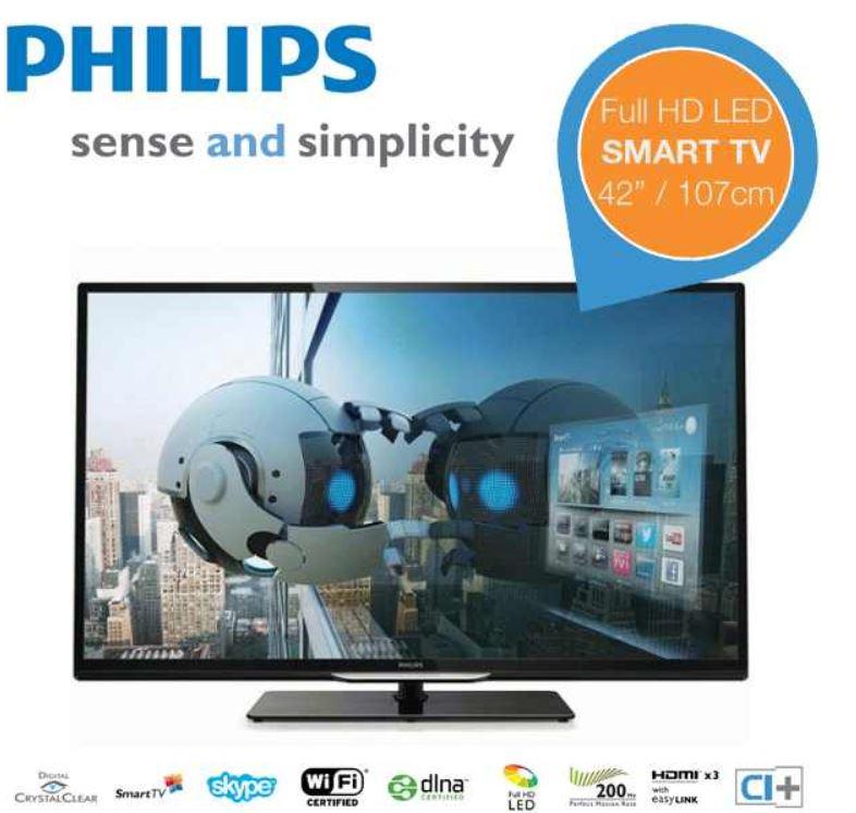 Philips 42PFL4208H   42 Zoll Ultra Slim Smart TV  für 478,90€