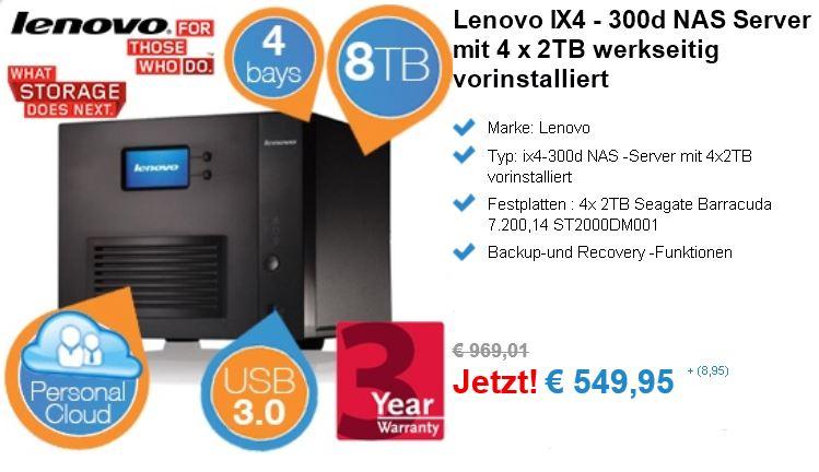 Lenovo IX4   300d NAS Server mit 4 x 2TB für 558,90