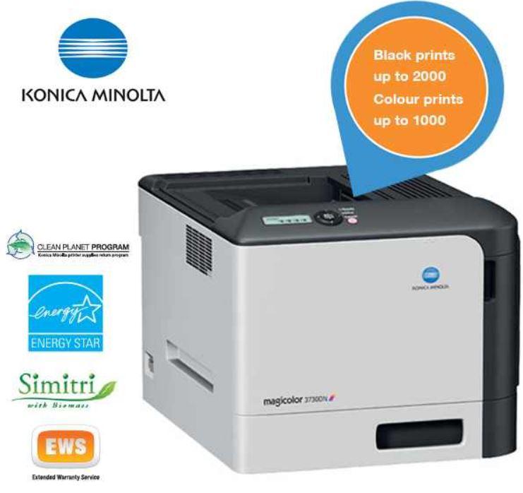 Konica Minolta 3730DN   Farblaserdrucker für 125,90€   wieder da!