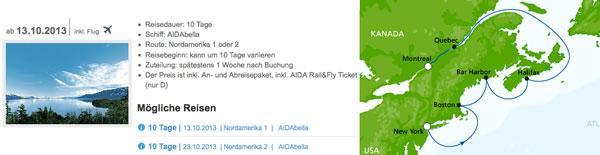 AIDA First Minute Angebote – z.B. 10 Tage Nordamerika ab 1249€ inkl. Flug und Vollpension