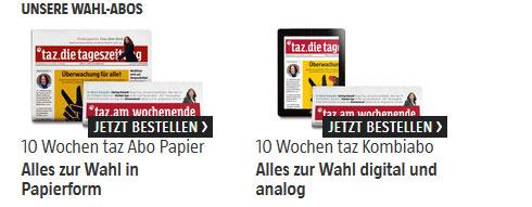 10 Wochen TAZ als E Paper und gedruckter Wochenendausgabe für 10€