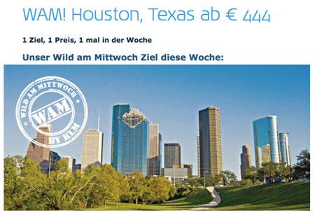 Flug: Deutschland nach Houston (Texas) für 444€   Hin  und Rückflug